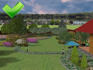 фрагмент 3Д визуализации ландшафтного проекта