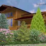 вид на дом из ландшафтного проекта nk025-2