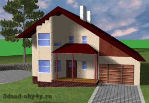 дом с гаражом на склоне рельефа