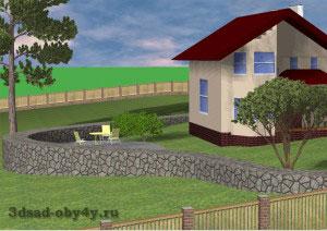 дом с подпорной стенкой