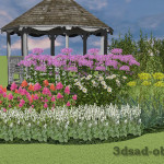 3D вид цветника с посконником