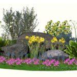 3D вид цветника с хвойником и многолетниками