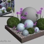 визуализация композиции каменных шаров  с декоративным луком