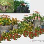 декорирование пней цветами