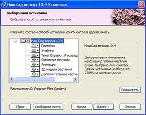 окно выборочной установки программы